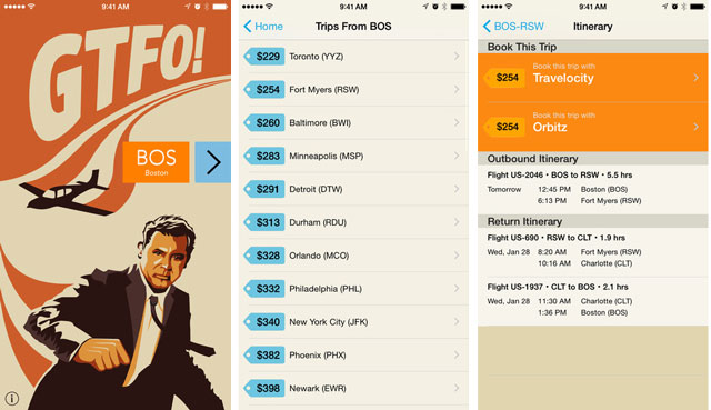 GTFO - Get the Flight Out lets you hunt for airfare from your current location
