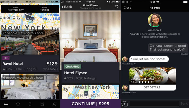 HotelTonight - lets you hunt for hotel rooms from your current location