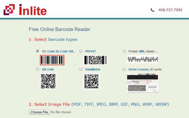 Inlite barcode and QR code reader
