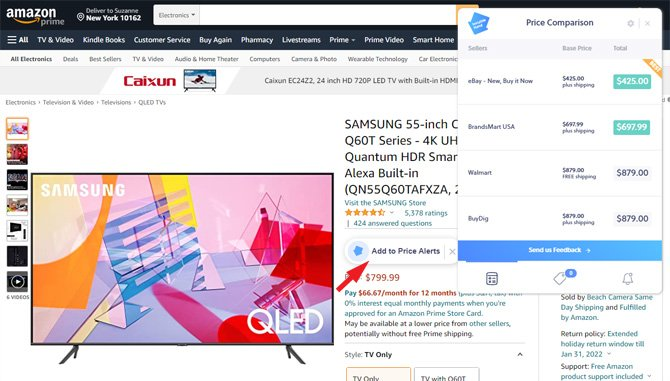 Amazon page for the Samsung QN55Q60TAFXZA TV showing the Invisible Hand price comparison box and the Add to Price Alerts button (pointed out with arrow).