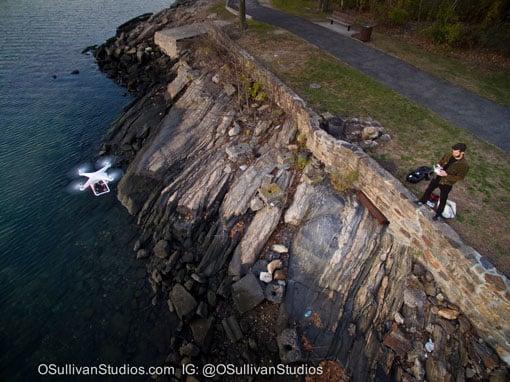 John O'Sullivan take a selfie with his drone