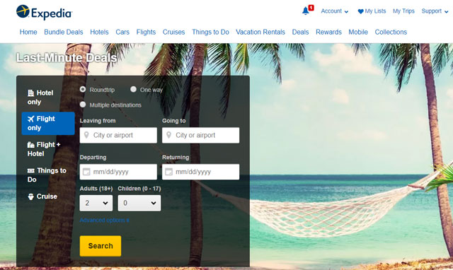 flight hotel travel expedia car trip map search book cruise