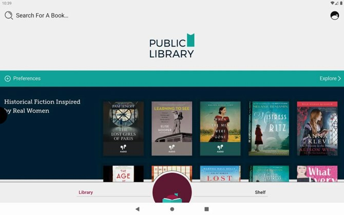 Libby app screenshot showing public library books categorized as Historical Fiction Inspired by Real Women