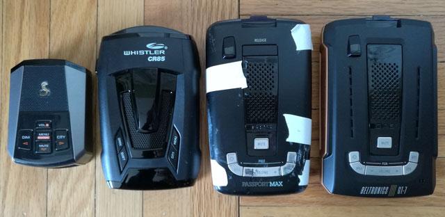 Radar detector size  comparion Cobra 9200, Whistler CR85, Passport Max, Beltroinics GT=7