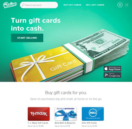 Raise.com gift card exchange site