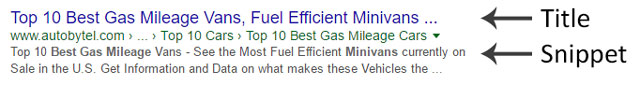Search results title snippet example