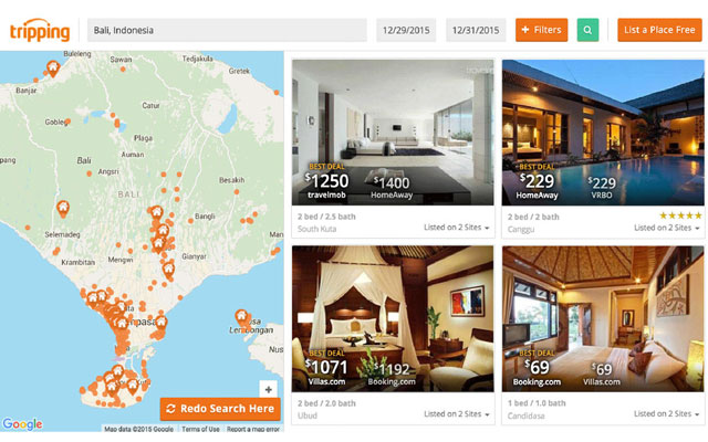 Tripping lets you compare prices across property rental sites.