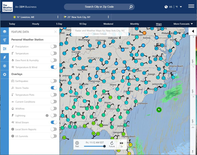 The Weather Channel: interactive map
