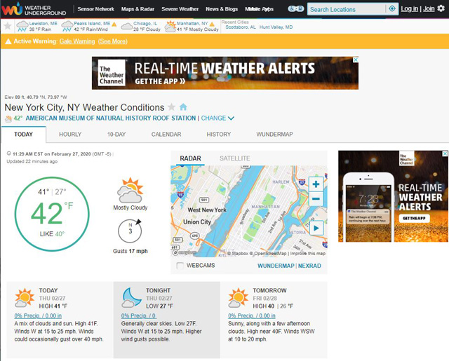 For direct access to weather station data: Weather Underground