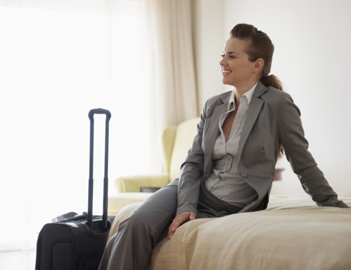 Woman in hotel room