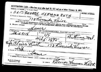Babe Ruth's World War II draft card