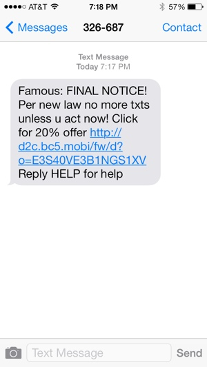 TCPA text alert