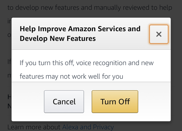 Turn off improve Amazon Services