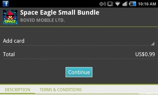 Angry Birds in-app purchase