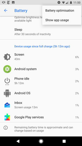 Android Oreo battery settings