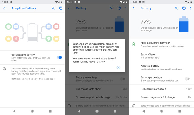 Android 9.0 Pie battery features