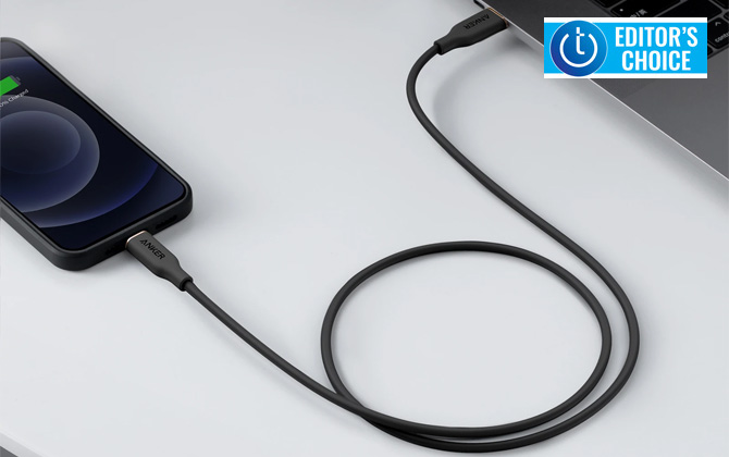 Anker PowerLine III Flow USB-C to Lighting cable plugged into iPhone and laptop computer. Techlicious Editor's Choice award logo in upper right.