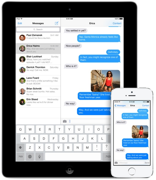 Apple iMessage on an iPad and iPhone