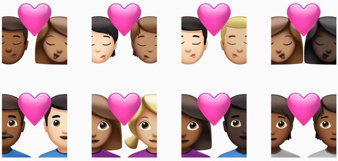 iPhone emoji new options choosing couple with heart