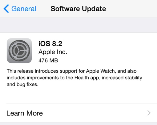 Apple iOS 8.2 update prompt