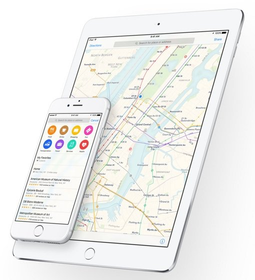 Apple iOS 9 Maps with Transit View