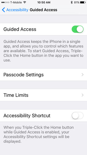 Apple iOS Guided Access