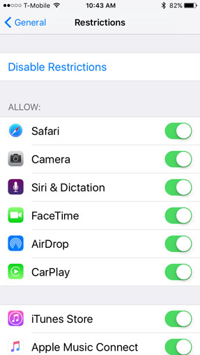 Apple iOS Restrictions
