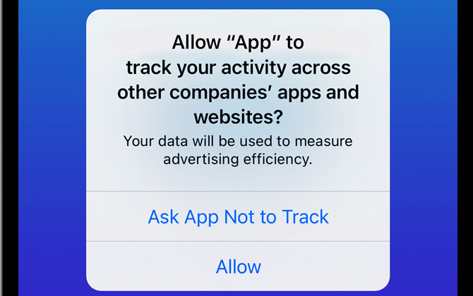 iOS 14.5 privacy control pop up for ad tracking
