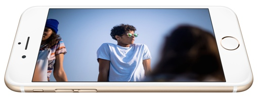 Apple iPhone 6 gold in landscape mode