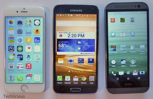 iPhone 6 vs Samsung Galaxy S5 vs HTC One M8