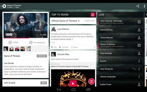 Beamly app showing Game of Thrones content