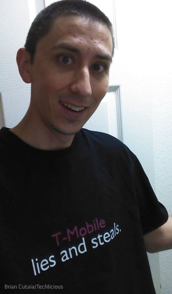 Techlicious reader wearing a T-Mobile Lies and Steals T-Shirt