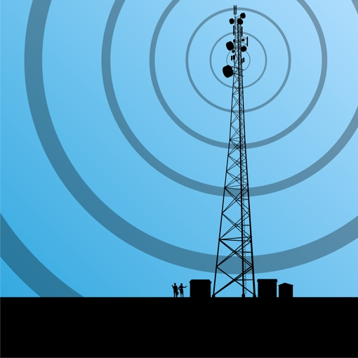 Cell tower with signal graphic