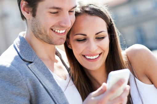 Couple with shared smartphone