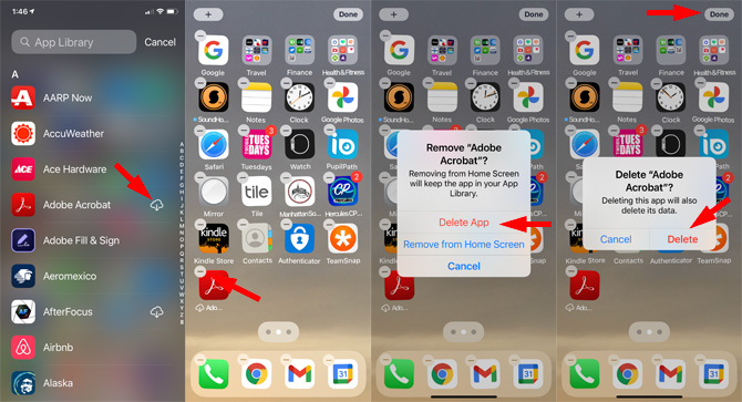 How to delete an iPhone app in your App Library if there is a cloud icon next to it
