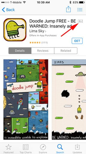 Doodle Jump content rating