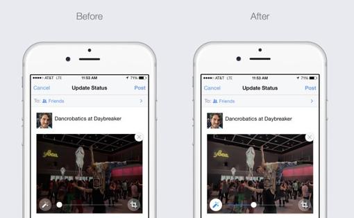 Facebook image auto-enhance feature