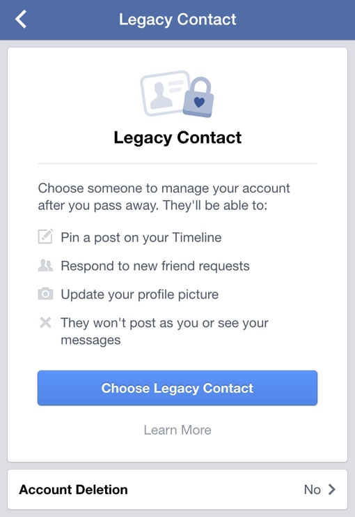 Facebook Legacy Settings contact page