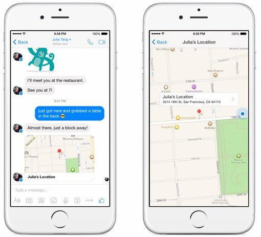 Facebook location sharing in Messenger