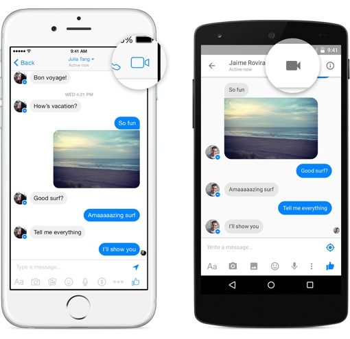 Facebook Messenger video chat