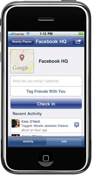 Facebook Places on iPhone
