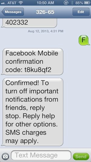 Facebook text confirmations