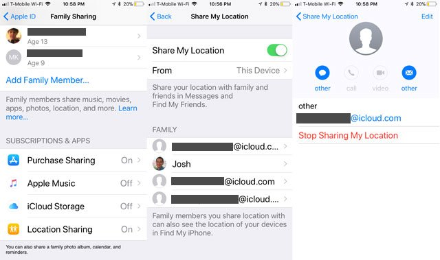 Family Sharing - Location Sharing