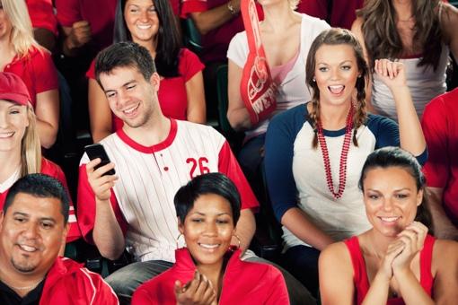 Fan on phone at baseball game
