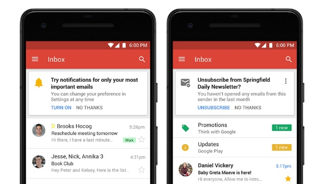 Updates to Gmail app
