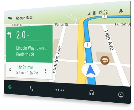 Google Android Auto navigation screen
