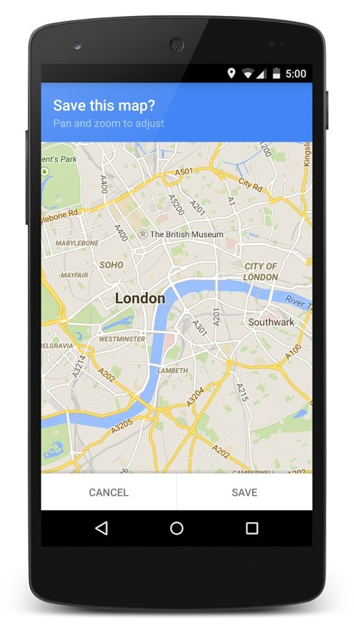 Google Maps offline map saving prompt