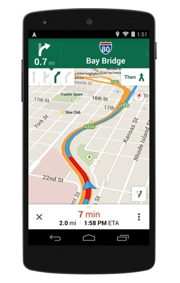Google Maps on Android featuring Lane Assist