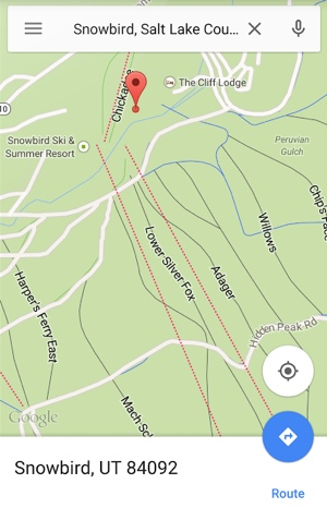Google Maps ski trail map of Snowbird