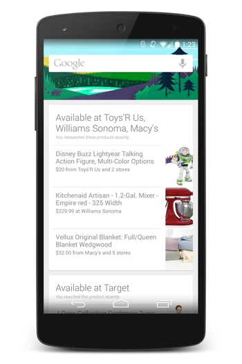 Google Now's local advertising cards
